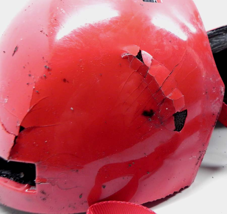 Helmet with brittle shell.